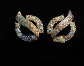 earrings clip signed Coro aurora borealis rhinestones gold tone
