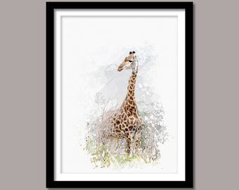 Giraffe Print, Giraffe Digital Print, Animal Printable Art, Giraffe Abstract Print, Giraffe Printable Poster, Watercolor Art, Wall Decor