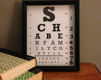 Personalized Framed Eye / Vision Chart