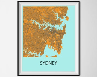 Sydney Map Poster Print - Orange and Blue