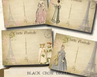 Paris Postcards with Vintage Fashion Ladies & Children, Collage Sheet, Instant Download, Printable, Scrapbooking, Paper Crafts