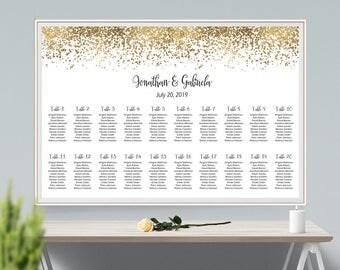 Gold Glitter Wedding Seating Chart Board, Gold Glitter Seating Chart Printable Wedding Seating Plan Sign, Gold Wedding Table Plan Board