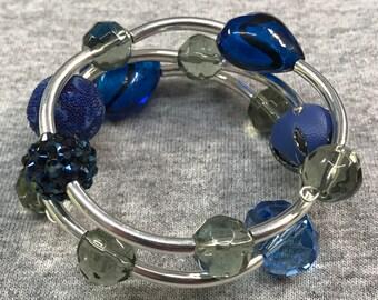 Mixed Blue Wrap bracelet