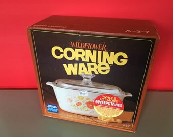 Corning Ware WILDFLOWER 3-Quart Pyroceram Covered Casserole - Factory Sealed Box - A-3-B with Pyrex A-9-C Lid- Orange Flower - New Old Stock
