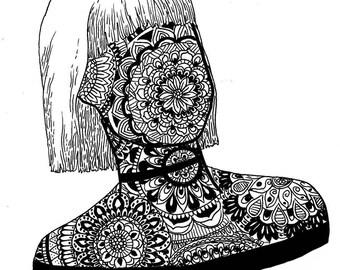 mandala girl print