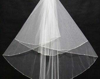 Ivory 2 tier beaded edge veil