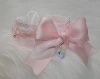 Kitten/DDLG Play Collar // Pretty Princess Kitten/DDLG Collar with Swarovski Crystals