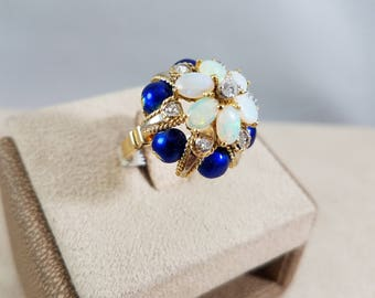 18k Yellow Gold Diamond and Opal Ring with enamel