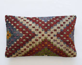 "Kilim rug pillow cover 16""x26"" (40x65cm) 008"