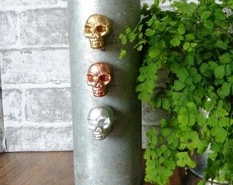 Trio of Funky Skull Fridge Magnets, Gold, Copper, Silver, Plaster Skulls, Halloween, Gothic home Decor, Skull Magnets, Neodymium Magnets,