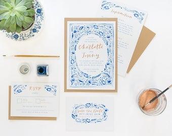 Beautiful Blue and White Wedding Invitations, DIGITAL FILE.