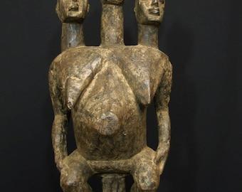African tribal Lobi 3 headed female seated figure -------- Tribal Eye Gallery
