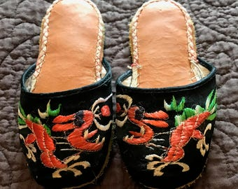 Antique Chinese Shoes, Slippers, Silk, Embroidered, Purchased in China early 1920s