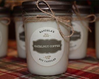 8oz Hazelnut Coffee 100% Natural Soy Wax Candle