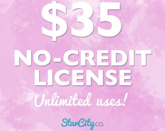 No-Credit Commercial License for UNLIMITED uses, Commercial License, Clipart License, Commercial use for clipart