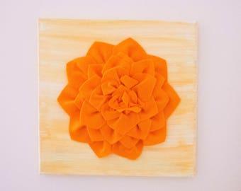 Felt Flower Canvas - Orange