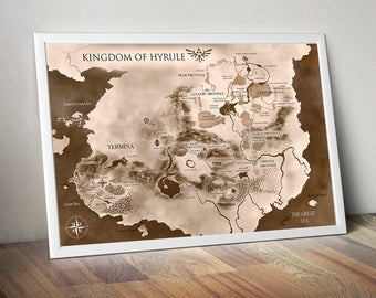 The Legend of Zelda, Kingdom of Hyrule Map, Legend of Zelda Map, The Legend of Zelda Art, The Legend of Zelda Poster, Legend of Zelda Print