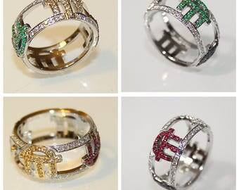 Gold Diamond Ring Saphire Ring Ruby Ring Emerald Ring Unique Wedding Band Unique Wedding Ring Anniversary Ring Unique Wife Gift Spring Ring