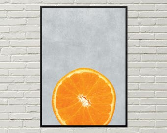 ORANGE wall art, kitchen food art kitchen art decor, kitchen wall art kitchen wall decor food art print, digital food orange fruit art print