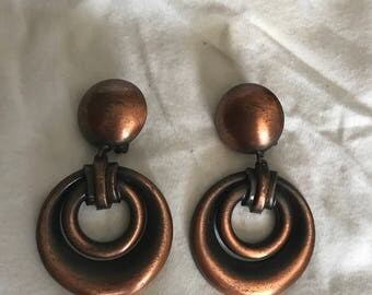 Vintage Brushed Copper Retro Circle Dangle Clip On Earrings - Nifty!