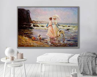 """Figurative Painting, People Painting, Lady with Dog on Beach, 24x36""""/60x90cm Oil Painting"""