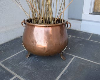 Vintage Copper Pot Planter Cauldron with handle