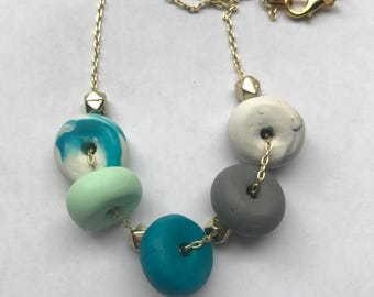 Handmade Teal and Grey Necklace
