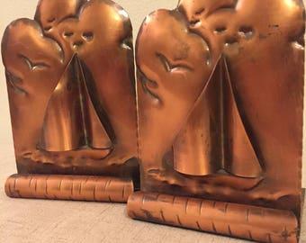 Gregorian Copper Sail Boat Bookend, Hammered, #217