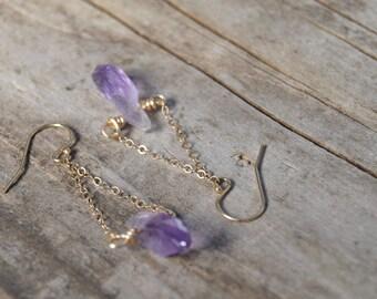 Raw Amethyst Earrings, 24k Gold Earrings, Raw Stone Earrings, Natural Stone Earrings, Dangle Earrings