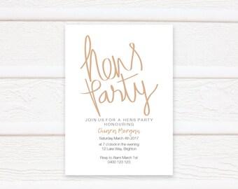Hens Party, Wedding, Invitation Printable, Modern Invite