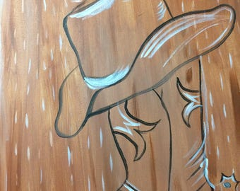 Cowboy boot and hat painting