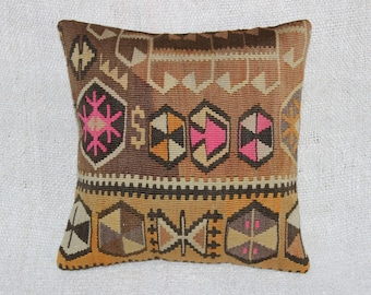 "Pink Kilim Pillow Cover,Ethnic Pillow,Tribal Pillow,Bohemian Pillow,16""x16""inches,40x40 cm"