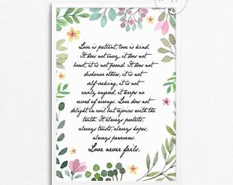 Love is patient / Gift for Friend / 1 Corinthians 13 / Scripture Art / Bible Verse / Christian Art / Christian Gift / Christian Wall Art /