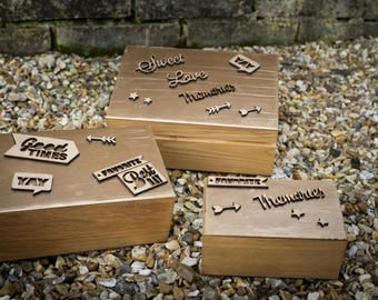 Set of three lovely wooden memory boxes.