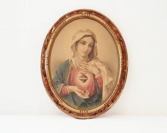 Old portrait of the Virgin Mary, Sacred Heart polychrome paint. France