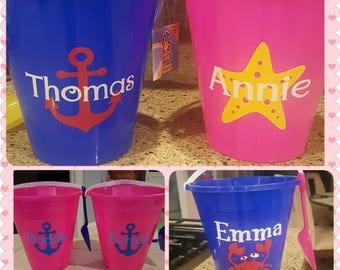 Personalized Beach Pails and Buckets