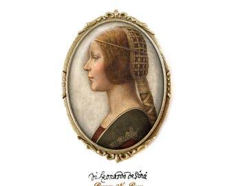 Brooch pin La Bella Principessa Leonardo da Vinci retro vintage