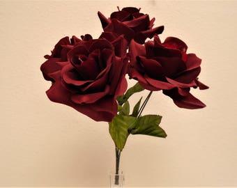 "2 Bushes BURGUNDY Jumbo Open Rose 5 Artificial Silk Flowers 14"" Bouquet 1171BU"