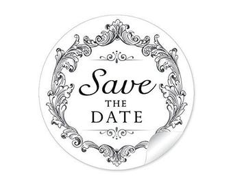 "24 STICKER: ""save the date"" nice labels in black white"