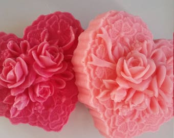 beautiful rose and heart soap