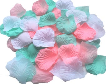 900 Mixed Mint Green Pink White Rose Petals Artificial Flower for Wedding Party Centerpieces Table Scatters Bridal Shower Favors