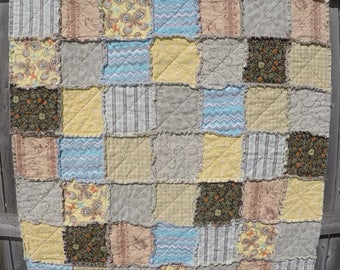 Rag Quilt in Warm Neutral Tones for the baby in your life!