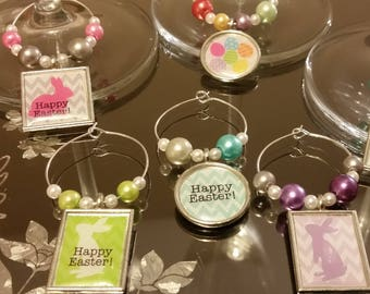 Easter Wine Glass Charms Set of 6 Easter Designs - Individually Designed, Homemade (Set of 6)