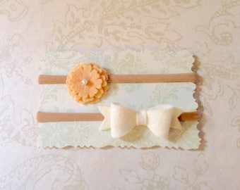 Organic Baby Girl Felt Bow and Flower Headband Set- White and Peach