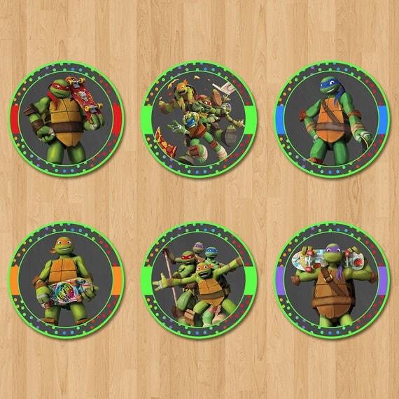 Teenage Mutant Ninja Turtles Cupcake Toppers - Chalkboard Green - Ninja Turtle Birthday Party - Ninja Turtle Party Favors - TMNT Stickers