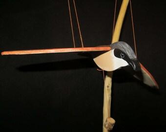 """Mobile bird hand painted wooden """"magpie Shrike Skinner"""""""