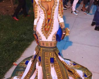 Dashiki dress, dashiki maxi dress, dashiki prom dress