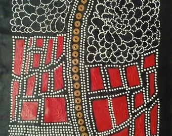 "Aboriginal Art, ""Dry Season"" Bush Onion Abstract Dot Painting, Authentic & Original, by Aboriginal artist Japananga Hudson, includes COA"