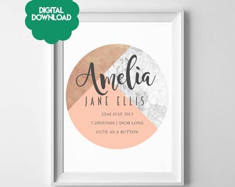 Birth Stats / Birth Details Circular Abstract Layered Texture Trendy -  Marble + Rose Gold