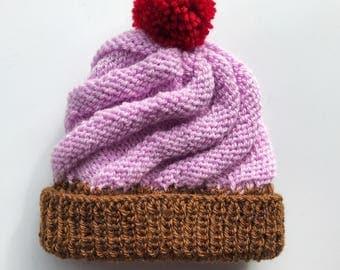 Baby cupcake hat - handmade bobble hat - kids pom pom - childrens beanie - baby shower gift - girls hat - boys clothes